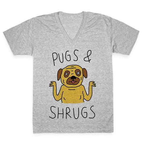 Pugs And Shrugs Dog V-Neck Tee Shirt