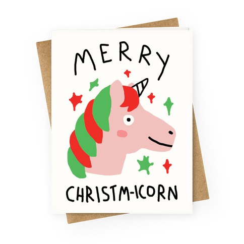Merry Christm-icorn Greeting Card