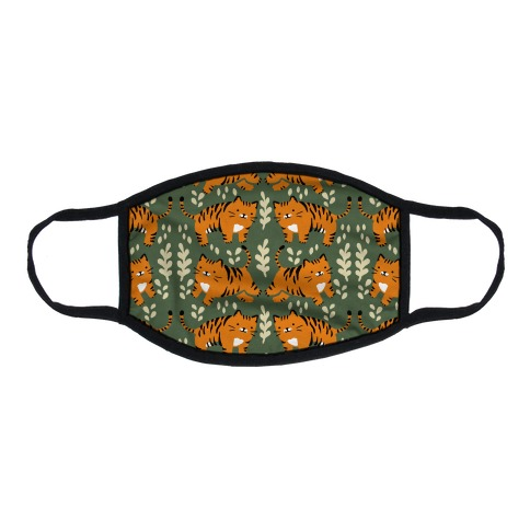 Chubby Tiger Pattern Green Flat Face Mask