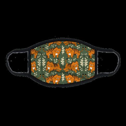 Chubby Tiger Pattern Green Flat Face Mask