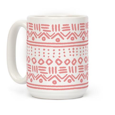 Abstract Geometric Coral Pink Boho Pattern Coffee Mug