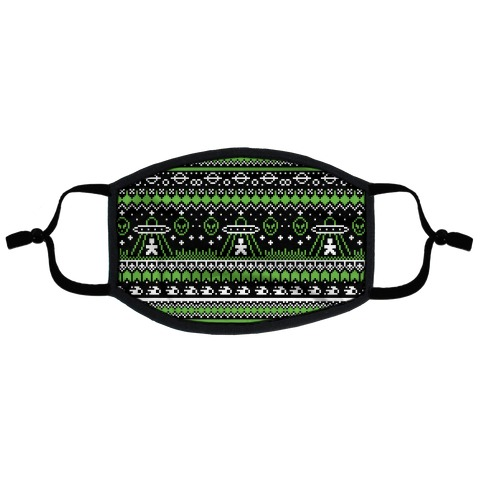 Ugly Alien Christmas Sweater Flat Face Mask