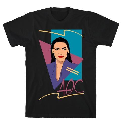 80s Style AOC Alexandria Ocasi-Cortez Parody White Print T-Shirt