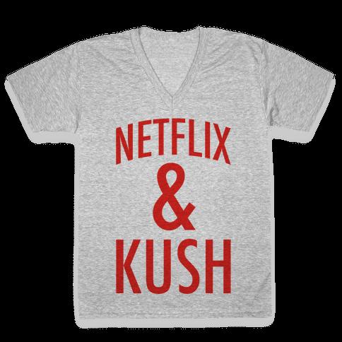Netflix & Kush V-Neck Tee Shirt