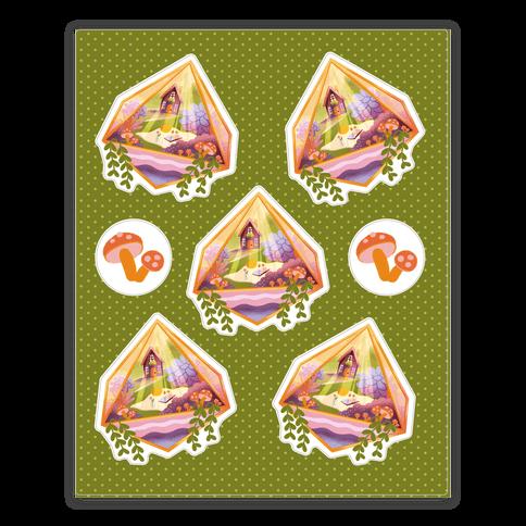 Cottagecore Terrarium Sticker and Decal Sheet