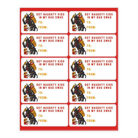 Got Naughty Kids In My Bag Swag Gift Tags Sticker and Decal Sheet