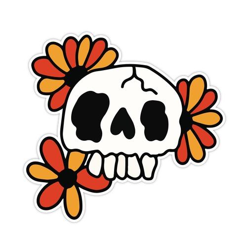 Skull Blossom Pattern Die Cut Sticker