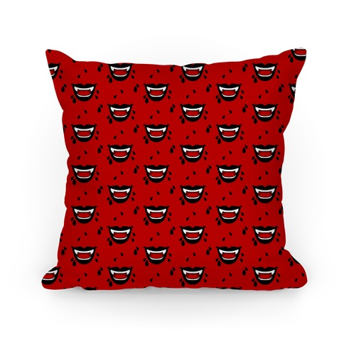 Black Vampire Lips Pattern Pillow