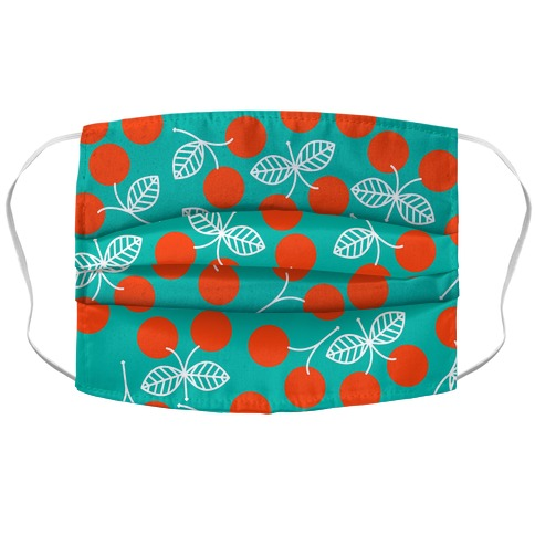 Vintage Cherry Teal Pattern Accordion Face Mask