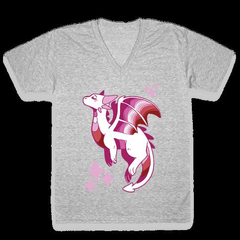 Lesbian Pride Dragon V-Neck Tee Shirt