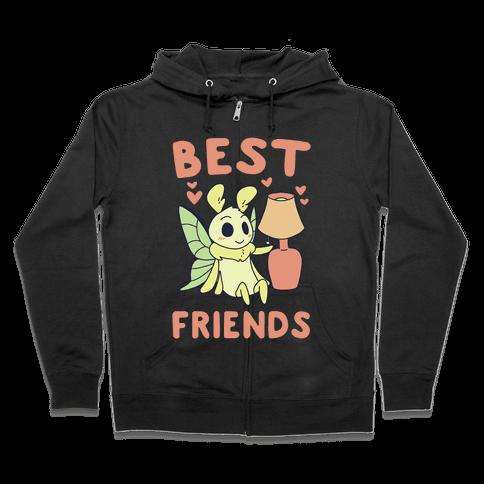 Best Friends - Moth and Lamp  Zip Hoodie