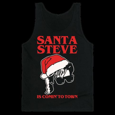 Santa Steve Parody White Print Tank Top