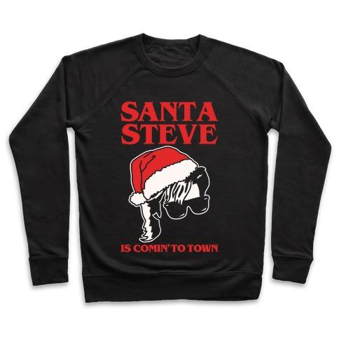 Santa Steve Parody White Print Pullover