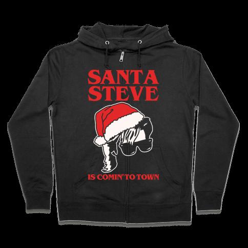 Santa Steve Parody White Print Zip Hoodie