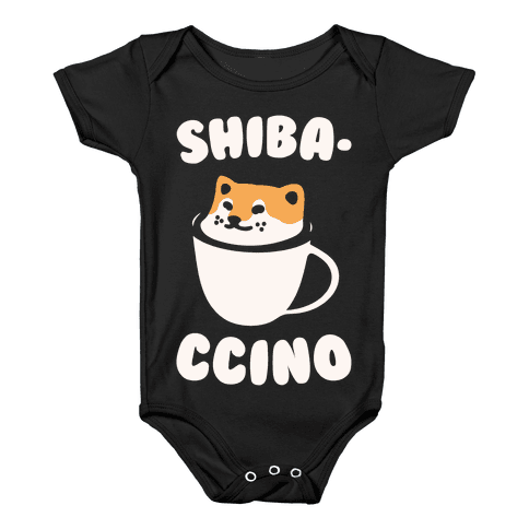 Shibaccino White Print Baby Onesy