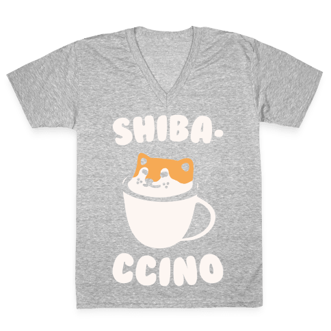 Shibaccino White Print V-Neck Tee Shirt