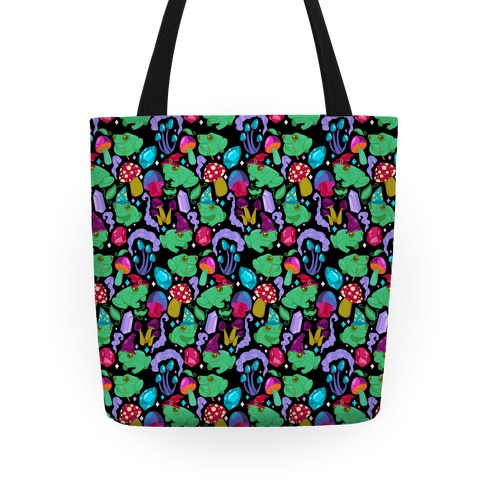 Magical Mushroom Frogs Pattern Tote