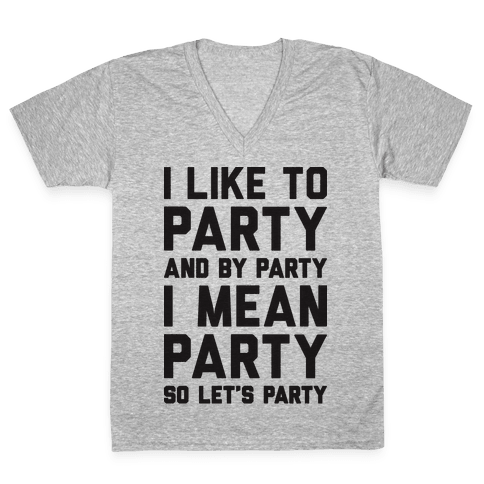 I Like To Party And By Party I Mean Party V-Neck Tee Shirt