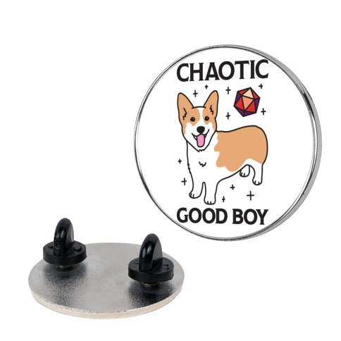 Chaotic Good Boy Corgi Pin