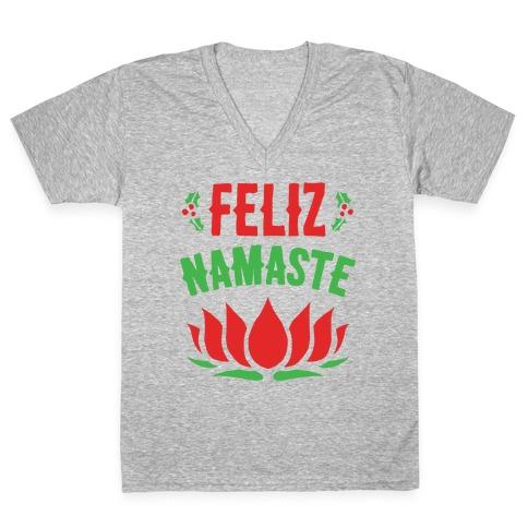 Feliz Namaste Parody White Print V-Neck Tee Shirt