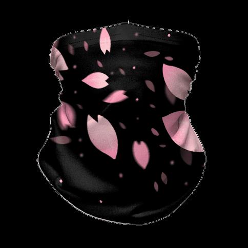 Cherry Blossom Petals (Black) Neck Gaiter
