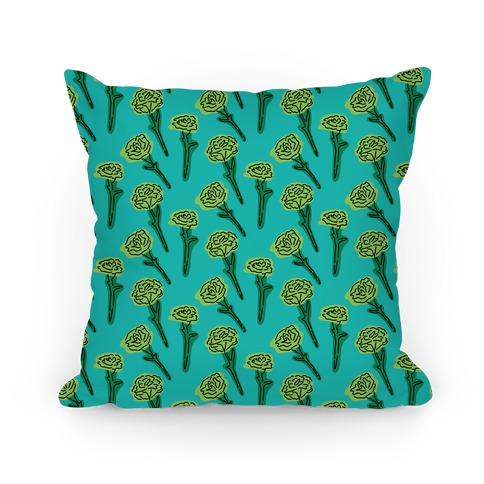 Green Carnation Pattern Pillow