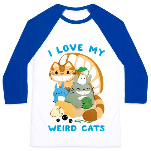 I love my weird cats Baseball Tee