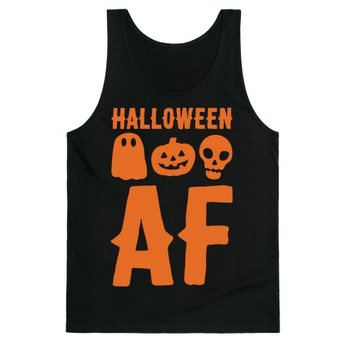 Halloween AF White Print Tank Top