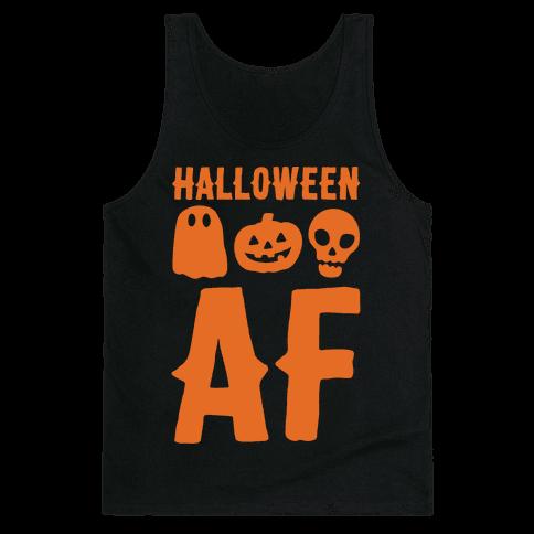 Halloween AF White Print Tank Top