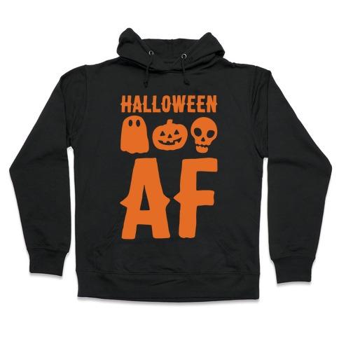 Halloween AF White Print Hooded Sweatshirt