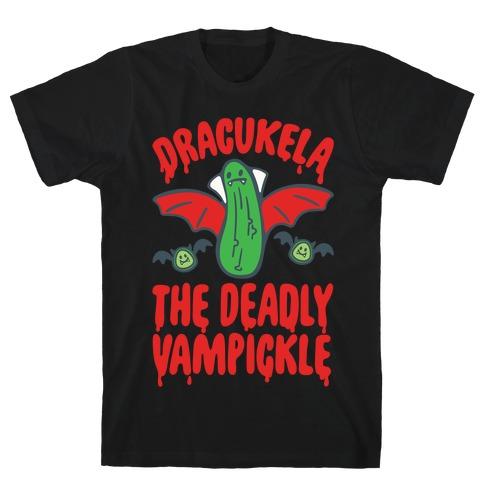 Dracukela Cucumber Parody White Print T-Shirt