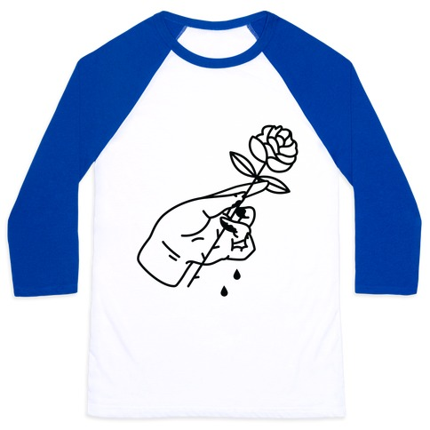 Hand With Bleeding Fingers Holding a Rose Baseball Tee