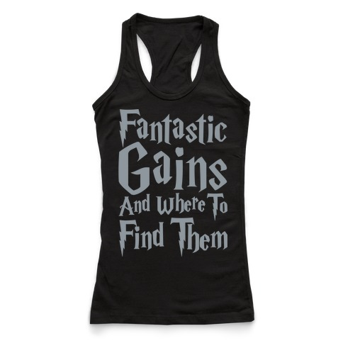 Fantastic Gains and Where To Find Them Parody White Print Racerback Tank Top