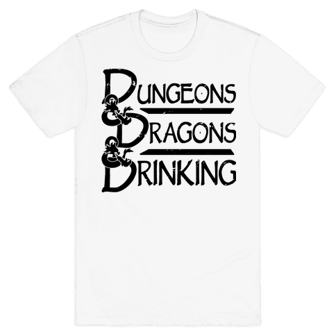 Dungeons & Dragons & Drinking Mens/Unisex T-Shirt