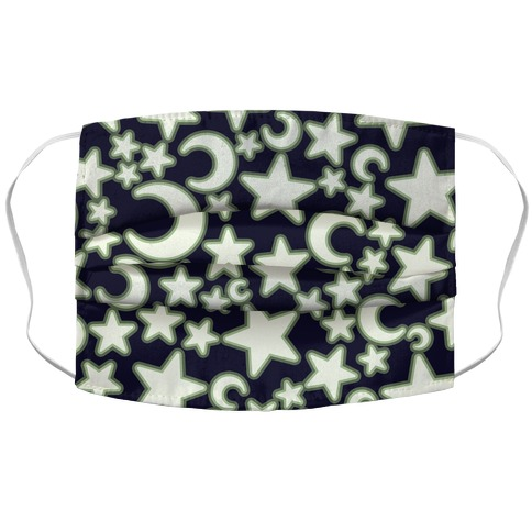 Glow In The Dark Stars Pattern Accordion Face Mask
