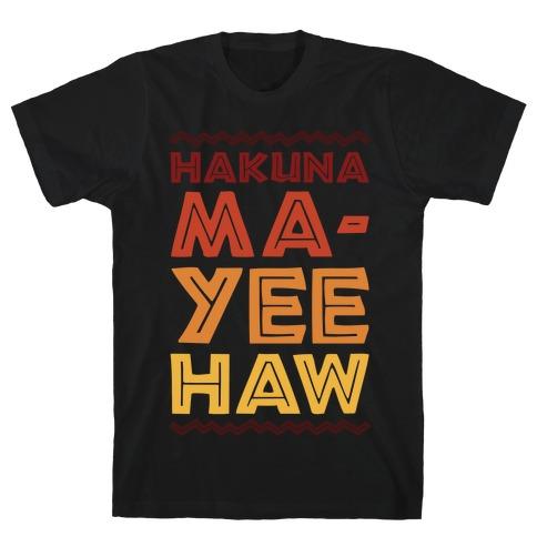 Hakuna Ma-Yee Haw Parody White Print T-Shirt