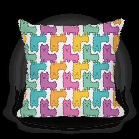 Pastel Llama Pattern Pillow