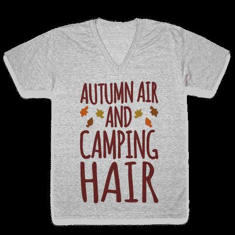 Autumn Air And Camping Hair V-Neck Tee Shirt