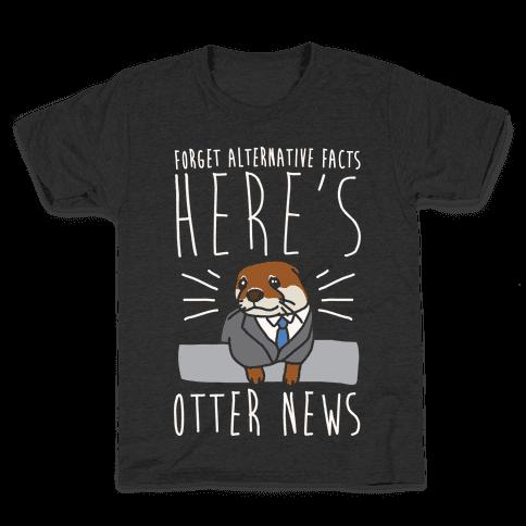 Otter News White Font Kids T-Shirt