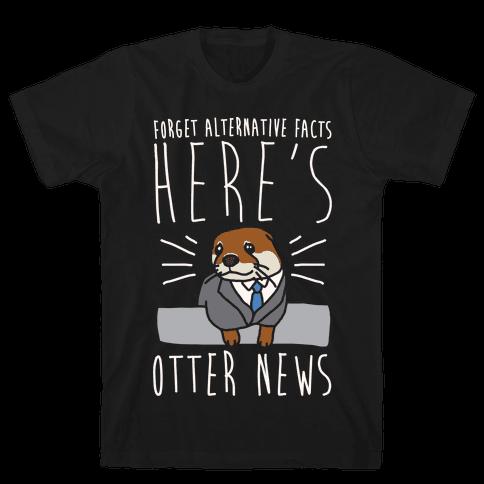 Otter News White Font Mens T-Shirt