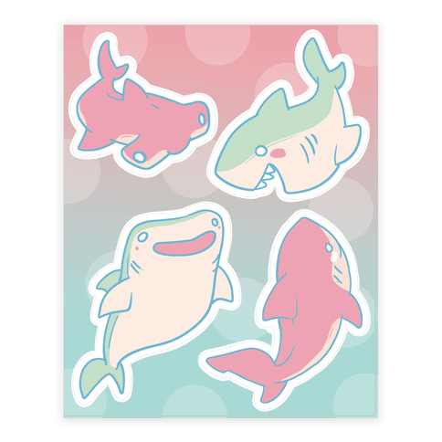 Happy Sharks Sticker/Decal Sheet