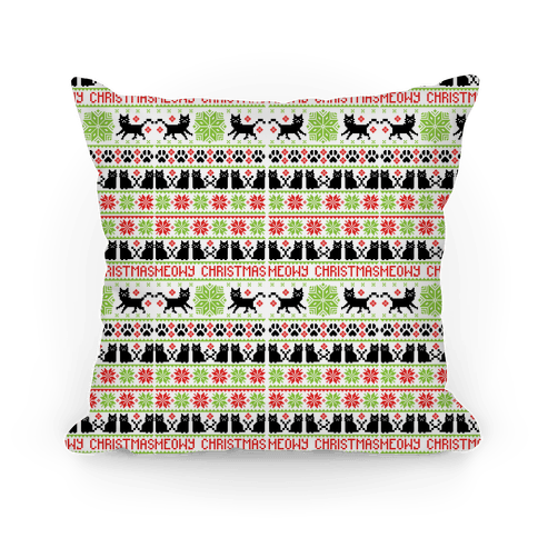 Meowy Christmas Cat Sweater Pattern Pillow