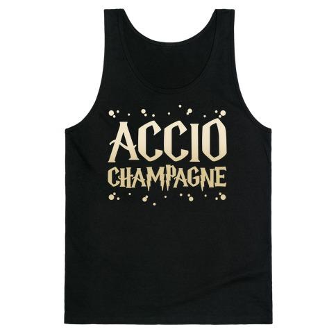 Accio Champagne Parody White Print Tank Top