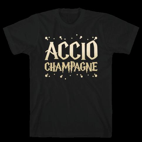 Accio Champagne Parody White Print Mens T-Shirt