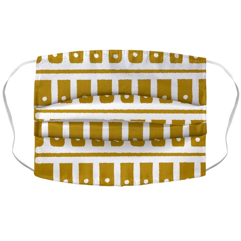 Abstract Boho Scales and Dots Design Mustard Yellow Accordion Face Mask