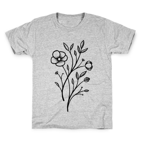Wildflower Stippled Tattoo Kids T-Shirt