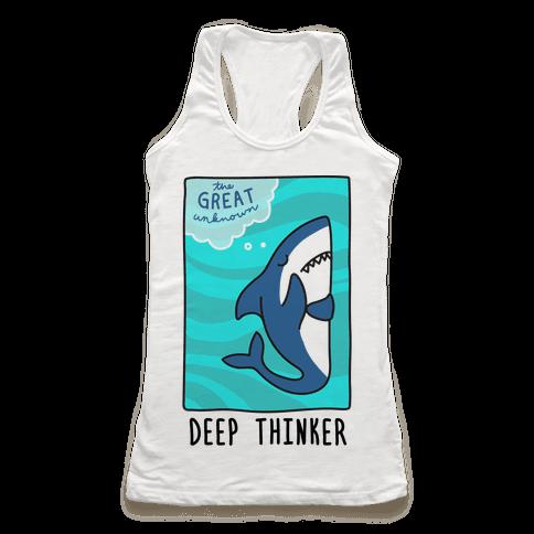 Deep Thinker Shark Racerback Tank Top