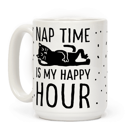 Nap Time Is My Happy Hour Cat Coffee Mug