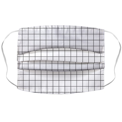 Black and White Black Line Grid Design Face Mask
