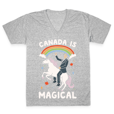 Canada Is Magical White Print  V-Neck Tee Shirt